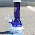 Color Thick Square Lip  Stem Hookah Water Pipe Glass 8 Inch Tobacco Bong Beaker