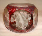 Antique Art Glass Hand Blown Faceted White Flower Controlled Bubble Paperweight