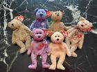 Ty Beanie Bears Lot 6 2000-2002 Signature Periwinkle Huggy and more FREE SHIP