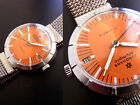 Vintage 1970's JUNGHANS OLYMPIC Hand Winding Wristwatch Orange Dial Rare