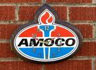 Vintage Amoco Gas Oil Wood Clock Works Rare 11x9 inches