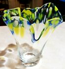 MURANO ITALY RARE VASE BLOWN GLASS BLUE YELLOW  GREEN MINT 9IN TALL