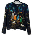 Michael Simon Christmas Sweater Nativity Scene Embellished Beads Sequin Small