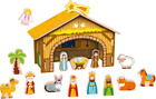 Tooky Toy Traditional Christmas 21 Piece Wooden Nativity Scene Children Playset