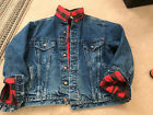 VIntage 80s Red Plaid Flannel Lined Jean Jacket Trucker Worn Distressed