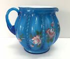 Fenton Glass Pitcher Twilight Blue Overlay Beaded Melon Hand Painted Signed