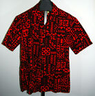 VTG UI MAIKAI Red Button Short Sleeve Tribal Native Hawaiian Aloha Shirt Men