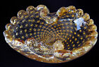 Bullicante Gold Dust Scrolls  Scallops Murano Glass Bowl by Archimede Seguso