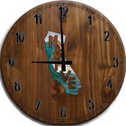 Large Wall Clock Native California Surfing Waves Ocean Summer Bar Sign