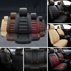 5-Seat Car Seat Covers Protector+Cushion Front+Rear Full Set PU Leather Interior