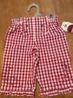Vtg baby girl Pants Jeans 3 6 month Picnic Plaid Checker Red White Rockabilly