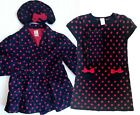 Gymboree Homecoming Kitty Navy Red Polka Dot Sweater Dress Beret Coat OUTFIT 6