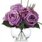 Enova Home Hydrangea and Peony Flower Arrangement in Glass Vase With Faux Water