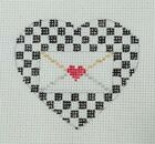 Needlepoint handpainted canvas Heart Race Car Checkered Flag red black Valentine