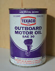 Vintage Texaco Outboard Motor Oil SAE 30 Metal Can