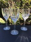 SET OF 3 HEAVY CRYSTAL WINE GLASSES MINT CONDITION 8 TALL stemmed footed
