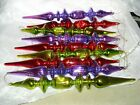 9 mercury glass decorative icicle Christmas ornaments 10 3 4 green red purple