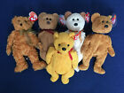 Lot of 5 Brown, Orange Beanie Baby Bears: Poopsie, Fuzz, Teddy, Curly, Huggy New