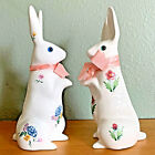 Alcobaca Portugal Pottery Bunny White Rabbit Figurines Easter Glass Eyes Floral