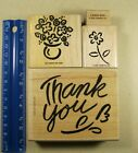 RUBBER STAMPS BOLD THANK YOU FLOWERS MISS YOU 4 STAMPS MIXED LOT