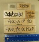RUBBER STAMPS THINKING OF YOU CELEBRATE THANK YOU MIXED LOT 6 STAMPS