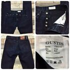 Gustin Slim Raw Selvege Jeans Mens 31x33 Dark Button Fly USA See All Photos