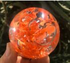 Large 2 3 4 Inch HANDMADE GLASS BLOWN MARBLE Orange ONE OF A KIND Paperweight