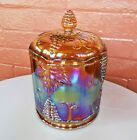 Indiana Glass Iridescent Gold Carnival Harvest Grape Large 9 Canister