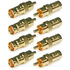 8x BNC Female Connector to RCA Male Jack Gold Plated Coax Coaxial CCTV Adapter