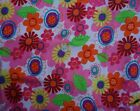 Polyester Blend BTY Pink Purple Red Orange Yellow  Green Funky Flowers