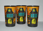 Set of 3 Halloween Spooky House 20 oz Plastic Party Cups New