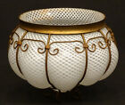 EXCEPTIONAL Antique MURANO Art Glass VENETIAN Woven Filigree METAL MOUNT Bowl