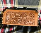 SMALL EMBOSSED LEATHER CLUTCH PURSE WALLET MEXICAN AZTEC DESIGN