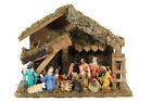 Vintage Christmas Wooden Manger Nativity Scene Set 24 Pieces Made in Italy