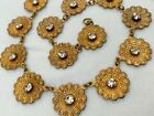 Vintage Antique Art Deco Nouveau Paste Glass Crystal Bezel Panel Flower Necklace