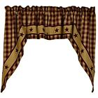 New Primitive Country CRANBERRY APPLIQUE STARS Checked Curtain Cafe Swags