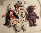 TY Beanie Babies Glory, Spangle, USA And Rescue The Dog And Courage
