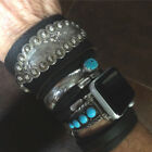 Genuine Leather 925 Sterling Silver Southwestern Native American Bracelet WOW