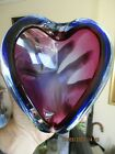 Murano Glass Heart Shaped Dish Ashtray Burgandy Blue and Purple Sommerso