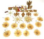 Vintage Old Christmas Ornament Lot German Asian themed Wood Shaving Nativity ETC