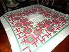 VINTAGE TABLECLOTH FLOWERS COLORFUL FUNKY 48 SQUARE