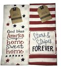 Two Fourth of July Patriotic Cotton Tea Towels Kitchen Towels