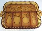 Vintage Indiana Amber Glass 5-Part Relish Dish Tray Fruits Pattern