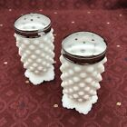 FOOTED HOBNAIL MILK GLASS SALT AND PEPPER SHAKERS