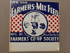 Vintage 1950s Farmers Mix Feed CO OP Sioux Center IA Metal Sign pig cow Chicken