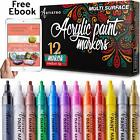 Acrylic Paint Markers for Rocks Ceramic Glass Set of 12 med tip