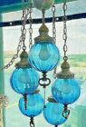 VTG Mid Century Retro 5 Globe Blue Glass Hanging Chain Swag Lamp Light