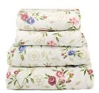 4 Pcs Floral Sheet Set Flat Fitted Pillowcases Small Blue Pink Floral