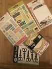 scrapbook embellishment lot Stickers Journaling Cards Tags And Metal Scissors