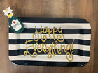Happy Everything Black Stripe Platter Champagne Attachment Rectangle Large